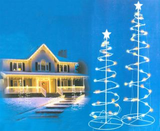 Set of 2 Multi Color LED Lighted Outdoor Spiral Christmas Trees Yard Art 3' 4'