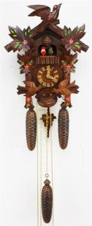 RARE Vintage Carved Painted Black Forest Musical Automation Cuckoo Wall Clock