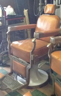One Koken Barber Chair to Restore Works Well No Brakes in Metal