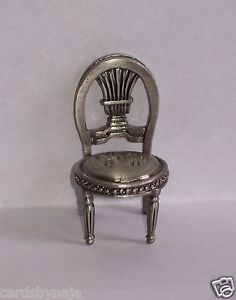 Decorative Collectible Dollhouse Miniature Pewter Chair Place Card Holder New