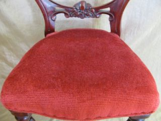 Antique Style Victorian Doll Chair Walnut Stain w Red Velvet