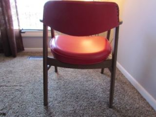Vtg Mid Century Modern Danish Style Red Paoli Wood Chair