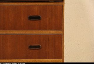 Midcentury Danish Modern Teak Secretary Desk 1960 Vintage