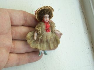 Old Antique Victorian Bisque Head German Dolls House Doll Miniature Chair Boxed