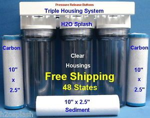 "Whole House Water Filter 1 Sediment 2 Carbon 3 4"" Ports Clear Housings 10""X2 5"""