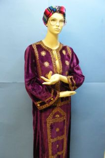 Vtg Antique Pakistan Pakistani H Embroidered Velvet Traditional Dress Size 34