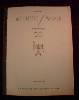 1964 Western Automatic Washer Washing Machine Operation Service Repair Manual