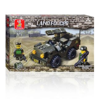 Army Tank Assault Jeep Double Cannon Gun Vehicle Building Block Bricks Boys Set