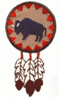 Native American Indian Buffalo Round with Feathers Iron on Applique Patch 309391