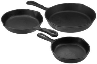 Universal Housewares Pre Seasoned Cast Iron 3 Piece Skillet Set Kitchen Stove
