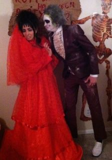 Lydia Beetlejuice Costume Halloween Red Lace Wedding Dress