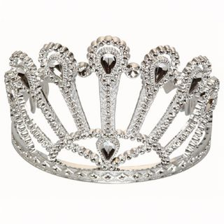 Silver Tone Beauty Pageant Royal Princess Tiara Queen Costume Crown Theatre Prop
