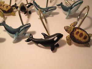 Sea Turtle Whale Shower Curtain Hooks Animals Marine Life Bathroom Decor 12