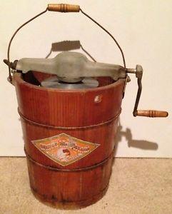 "Antique Large White Mountain Freezer Ice Cream Maker Wood Bucket 14 5"" Tall"