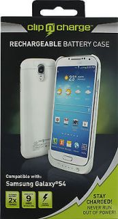 Clip N' Charge Rechargeable Battery Case Extend 2X Samsung Galaxy S4 s 4 White