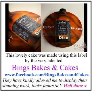 Edible Jack Daniels Bottle Label Icing Sheet Birthday Cake Cupcake ...