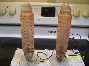 "Lot of 2 Matching Pink Electric Depression Glass ""Bullet"" Lamps Work Great"