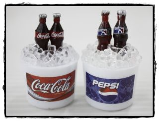 Dollhouse Miniature Coca Cola Coke Pepsi Bottle in Ice Bucket Magnet