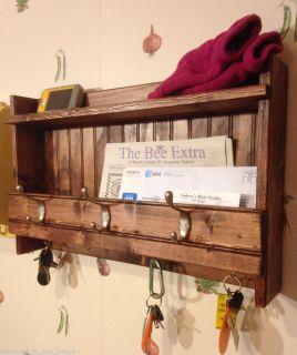 "24"" Handcrafted Rustic Wall Mount Mail Key Organizer Shelf Coat Rack Mahogany"