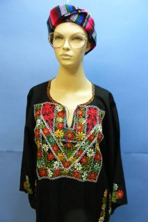 Vtg Ethnic Embroidered Middle East Islamic Arabic Floral Black Dress Free Gift