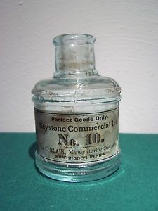 J C Blair Keystone Commercial Ink Bottle w Label and Embossed