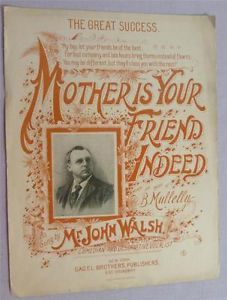 Mother Is Your Friend Indeed Antique Sheet Music RARE 1894 Large Format RARE