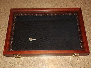Large Cherry Wood Shadow Box Glass Display Case Key Lock 12x18 Blue Suede Corded