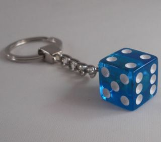"Chrome Key Chain w Real ""Clear Blue"" Dice Hot Rat Rod Hotrod Ratrod Keychain"