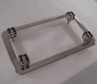 Chrome Motorcycle License Plate Tag Frame 4 Clear Gem Dice Lic Fastener Bolts