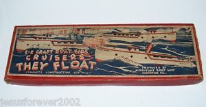 "Antique Vintage E Z Craft Boat Kit 19"" Ore Boat Wooden Boat Model Kit Unbuilt"