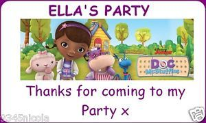 Personalised Doc McStuffins Address Party Thank You Labels Stickers