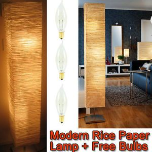 """Modern Asian Rice Paper Floor Lamp Light with 3 Bulbs """" Moody Moody Brand New """""""