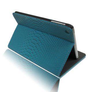 Turq Blue Python Luxury Leather Slim Smart Folio Stand Case Cover for iPad Mini