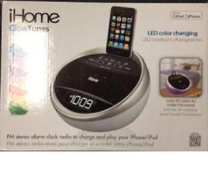 iHome IA17 Color Stereo FM Alarm Clock Radio iPod iPhone Speaker Dock Charger