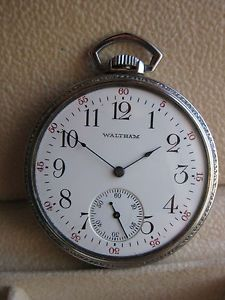 Waltham 19 Jewel Riverside Pocket Watch Seethrough Glass Salesman's Back Case