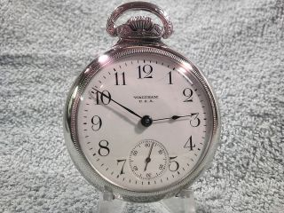 Waltham 15 Jewel 18s Train Engraved Case Pocket Watch Runs Great