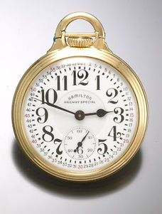 Hamilton 992B 21 Jewel Railroad Pocket Watch in A Bar Over Crown Model 10 Case