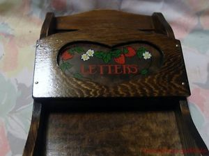 New Wood Wooden Wall Bill Letter Organizer Key Ring Holder Red Strawberries