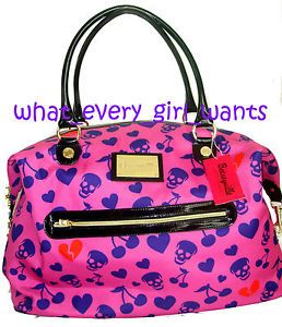 New Betsey Johnson Cherry Skull Breakin Hearts Weekender Duffle Luggage Tote Bag