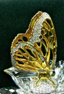 Swarovski Retired Crystal Gold Butterfly on Lotus Flower in Flight Series