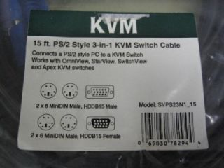 Star Tech 15 ft PS2 Style 3 in 1 KVM Switch Cable