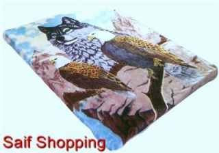 Wolf Eagle Soft Mink Plush Blanket Queen Size