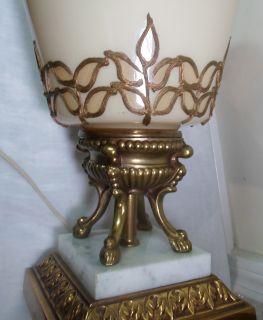 Stunning Vtg Mid Century Hollywood Regency Gold Orient Applied Leaf Lamps Lights