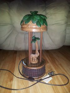 Vintage Rain Lamp Bamboo Palm Tree Elephant Mineral Oil Motion Light Lamp