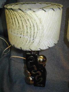 2 Vtg Mid Century Eames Black Gold Lamp Pair w Fiberglass Shades