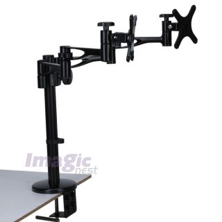 """Quad LCD Monitor Desk Mount Stand Heavy Duty Fully Adjustable 2 Screen Up to 26"""""""