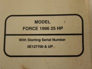 Force Mercury Outboard Service Shop Manual 1996 25 HP