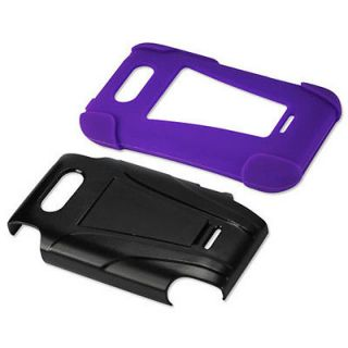 Black Purple Hybrid Case Hard Cover Protector Stand LG Motion 4G MS770 Metro Pcs