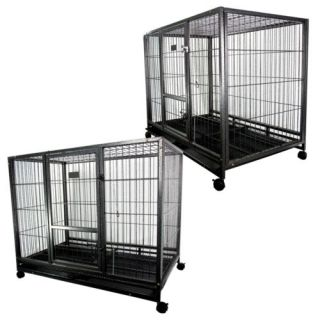 """43"""" Dog Kennel w Wheels Portable Pet Puppy Carrier Crate Large Cage Heavy Duty"""