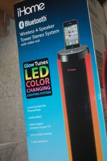 iHome Glow Tunes Bluetooth Wireless Speaker Tower IP76 System